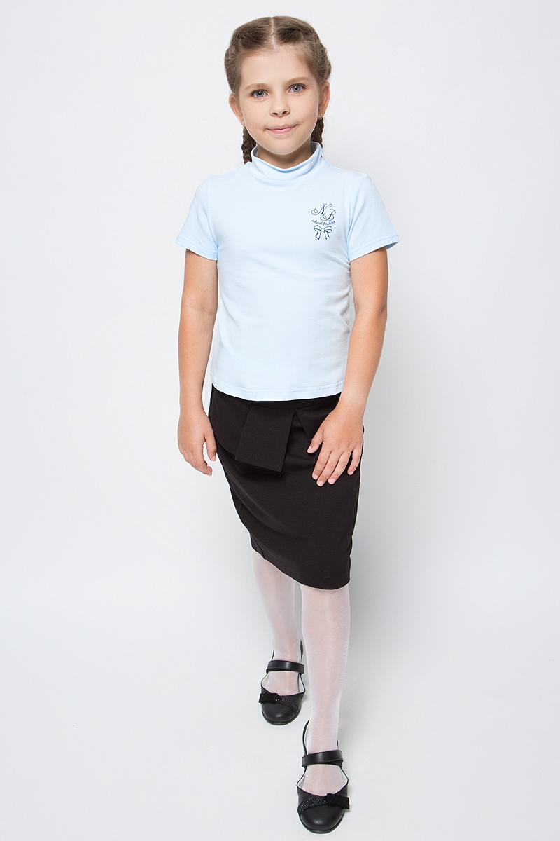 Водолазка для девочки Nota Bene, цвет: голубой. CJR27040B10. Размер 164CJR27040A10/CJR27040B10Водолазка для девочки Nota Bene выполнена из хлопкового трикотажа. Модель с короткими рукавами и воротником-стойкой на груди оформлена принтом.