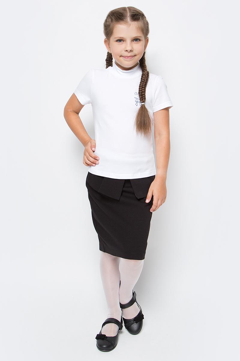 Водолазка для девочки Nota Bene, цвет: белый. CJR27040B01. Размер 164CJR27040A01/CJR27040B01Водолазка для девочки Nota Bene выполнена из хлопкового трикотажа. Модель с короткими рукавами и воротником-стойкой на груди оформлена принтом.