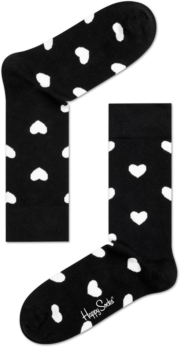 Носки мужские Happy socks, цвет: черный, белый. HA01. Размер 29HA01