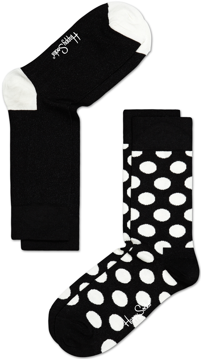 Носки мужские Happy socks, цвет: черный, белый. BD02. Размер 29BD02