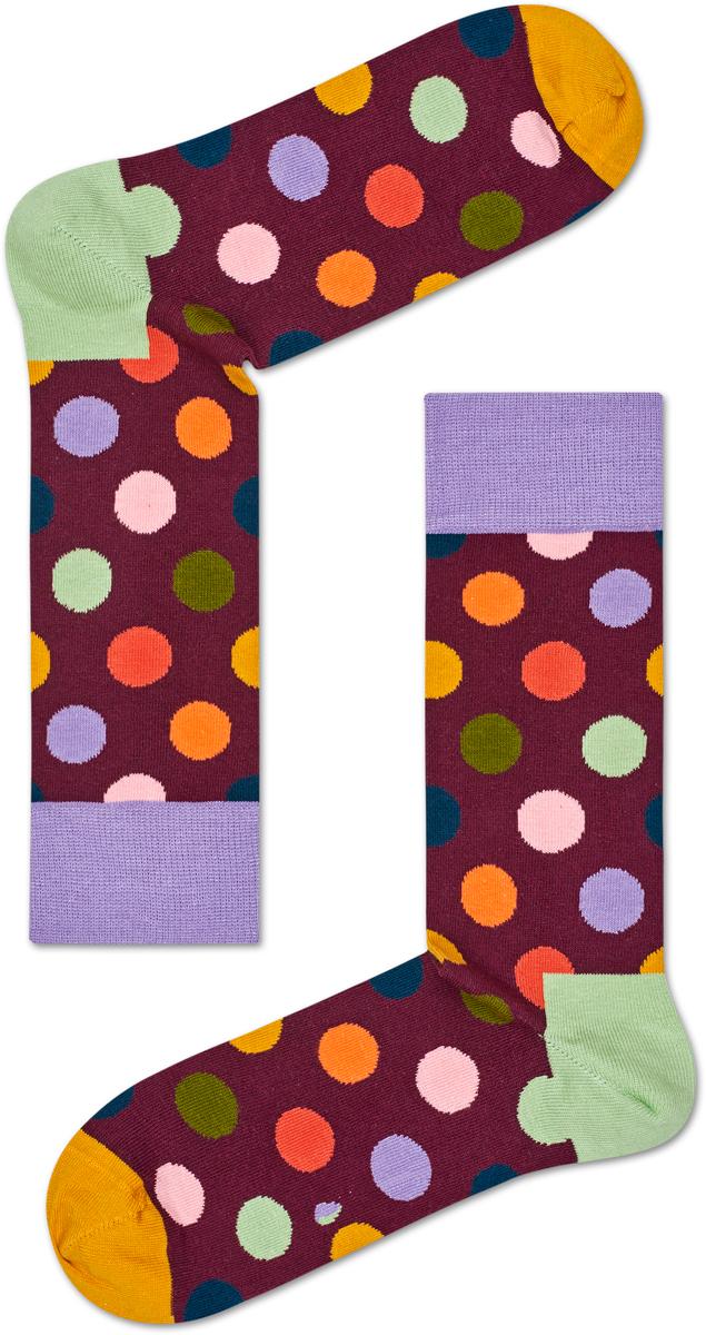 Носки мужские Happy socks, цвет: бордовый, мультиколор. BDO01. Размер 29