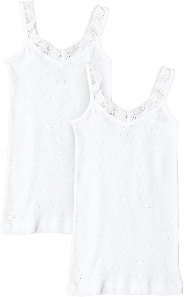 Майка для девочки Buonumare, цвет: белый, 2 шт. 7011 BNM. Размер 11 (152)7011 BNM