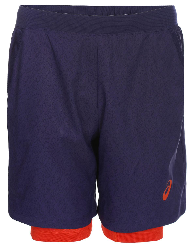 Шорты мужские Asics Padel Player Gpx Ii Short 7In 2In1, цвет: синий. 141164-1216. Размер M (48/50)141164-1216Эти шорты обеспечивают вам комфорт во время пробежек и занятий, благодаря мягкой. Светоотражающий логотип ASICS