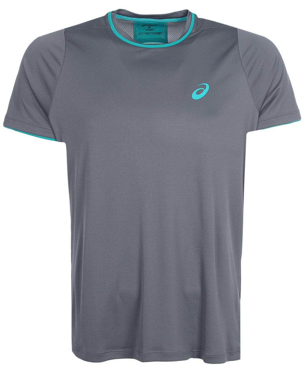 Футболка для тенниса мужская Asics Club Top, цвет: серый. 146473-0720. Размер M (48/50)146473-0720Футболка Asics предназначена специально для бега. Эта легкая беговая футболка обеспечит вам безупречный комфорт и достижение высоких спортивных результатов благодаря мягкой, эластичной ткани, которая отводит влагу и поддерживает тело сухим. Плоские швы не натирают кожу и обеспечивают полный комфорт. Фасон рукавов-реглан элегантен и создает свободу движений. Футболка декорирована логотипом. Максимальный комфорт и уникальный спортивный образ!