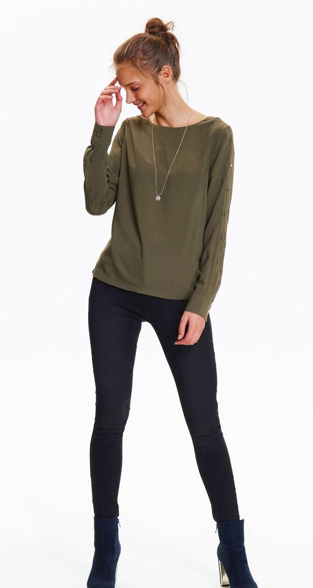 Блузка женская Top Secret, цвет: хаки. SBD0725ZI. Размер 38 (46)SBD0725ZIСтильная блузка Top Secret выполнена из легкой вискозы. Модель с круглым вырезом горловины и длинными рукавами. Спинка оформлена кокеткой. Рукава оформлены декоративными металлическими элементами. Лаконичный дизайн блузки позволит комбинировать ее с различными предметами вашего гардероба.
