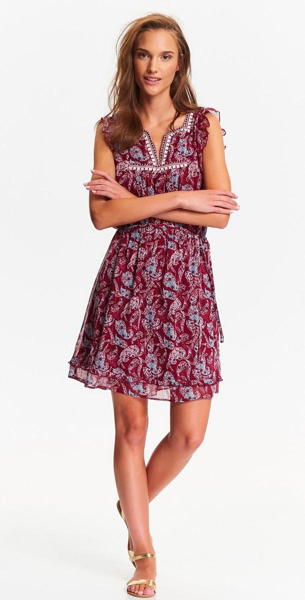 Платье Top Secret, цвет: бордовый, голубой. SSU1968CE. Размер 38 (46)SSU1968CEОчаровательное летнее платье Top Secret выполнено из легкого полупрозрачного полиэстера с оригинальным принтом. Модель приталенного силуэта с короткими рукавами-крылышками и V-образным вырезом горловины. Подол изделия декорирован оборкой. В таком платье вы всегда будете в центре внимания!