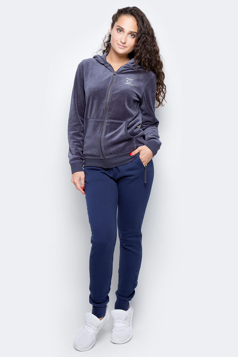 Брюки женские Luhta, цвет: темно-синий. 636708319LV. Размер S (42)636708319LVУдобные спортивные женские брюки Luhta выполнены из хлопка с добавлением полиэстера. Пояс дополнен эластичной резинкой и шнурком. По бокам брюки оформлены прорезными карманами на застежках-молниях и дополнены имитированной ширинкой. Низ изделия оформлен трикотажными резинками.