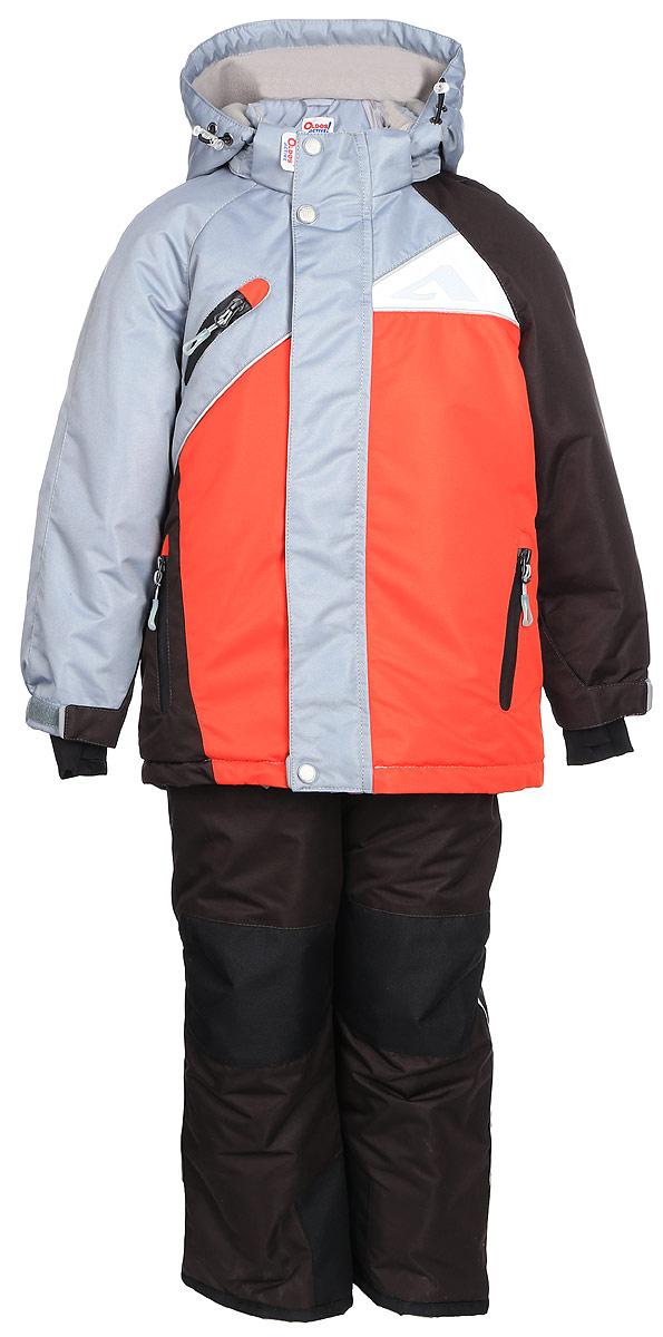 Комплект для мальчика Oldos Active Модест: куртка и полукомбинезон, цвет: маковый, серый. 1A7SU09. Размер 110, 5 лет1A7SU09Технологичный зимний костюм: куртка и полукомбинезон. Внешнее покрытие TEFLON - защита от воды и грязи, износостойкость, за изделием легко ухаживать. Мембрана 5000/5000 обеспечивает водонепроницаемость, одежда дышит. Гипоаллергенный утеплитель HOLLOFAN PRO 200/150 г/м2 - эффективно удерживает тепло и дарит свободу движения. Подкладка - флис, в рукавах и брючинах – гладкий полиэстер. Карманы на молнии, внутренний карман с нашивкой-потеряшкой. Полукомбинезон приталенный. Костюм имеет светоотражающие элементы. Изделие прекрасно защитит от ветра и снега, т.к. имеет ряд особенностей. В куртке: съемный капюшон с регулировкой объема, воротник-стойка, ветрозащитные планки, снего-ветрозащитная юбка. Манжеты на рукавах регулируются по ширине, есть эластичные манжеты с отверстием для большого пальца. Низ куртки регулируется по ширине. В полукомбинезоне: широкие эластичные регулируемые подтяжки, карманы, усиления в местах износа, снего-ветрозащитные муфты. Рекомендовано от минус 30°С до плюс 5°С.
