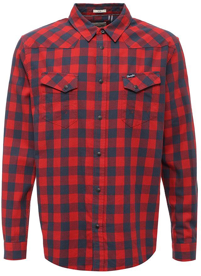 Рубашка мужская Wrangler, цвет: красный, темно-синий. W57164B1C. Размер L (48)W57164B1CСтильная мужская рубашка Wrangler выполнена из высококачественного хлопка и оформлена узором в клетку, фирменной нашивкой с названием бренда на лицевой стороне. Модель приталенного силуэта с отложным воротником и длинными рукавами застегивается спереди на пуговицу и кнопки. На рукавах предусмотрены манжеты с застежками-кнопками. Лицевая сторона изделия дополнена двумя накладными карманами на кнопках. Фирменная прострочка на карманах завершает композицию.
