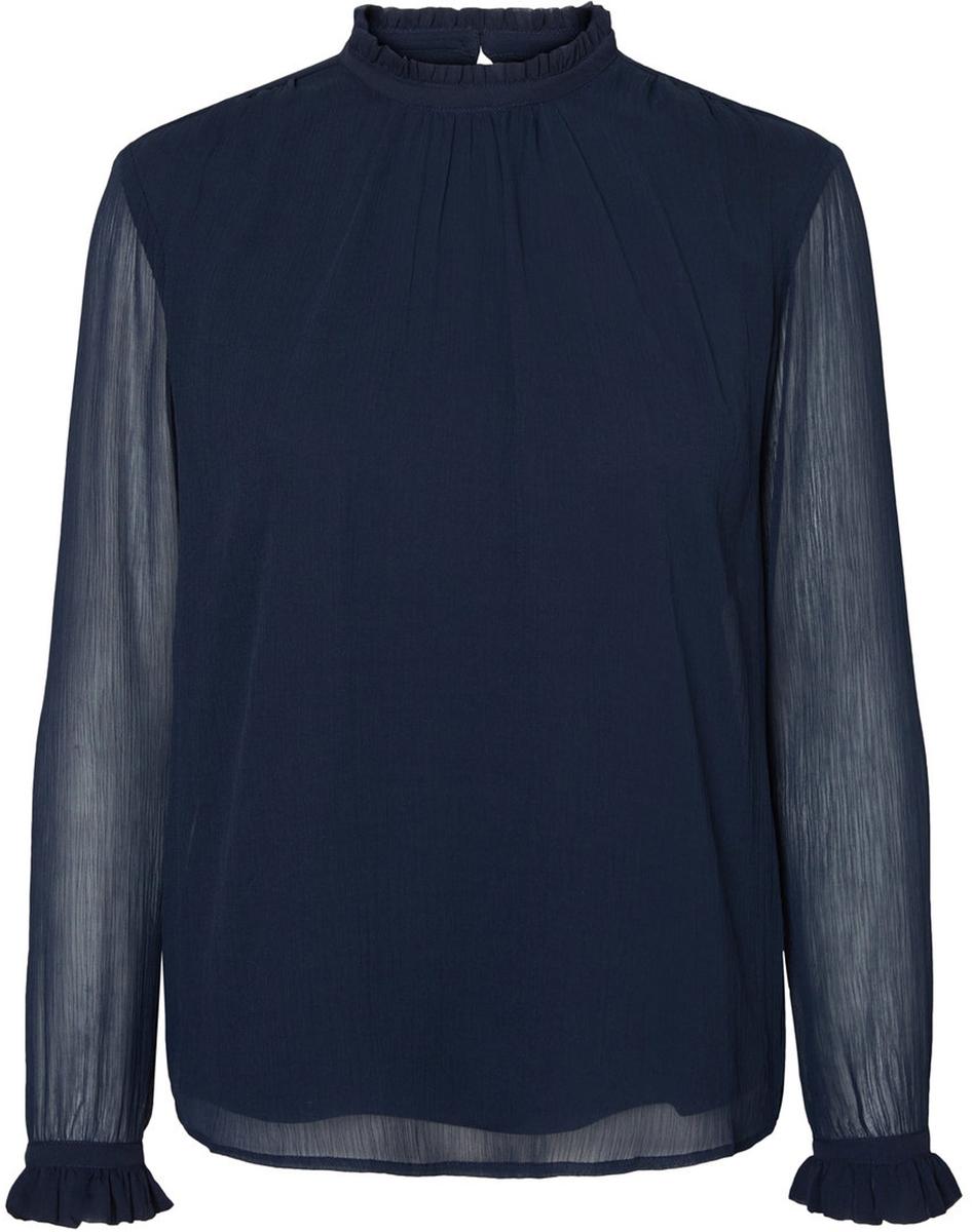 Блузка женская Vero Moda, цвет: синий. 10185949_Navy Blazer. Размер L (48)10185949_Navy BlazerБлузка женская Vero Moda с длинными рукавами и воротником стойкой сзади застегивается на пуговицу.