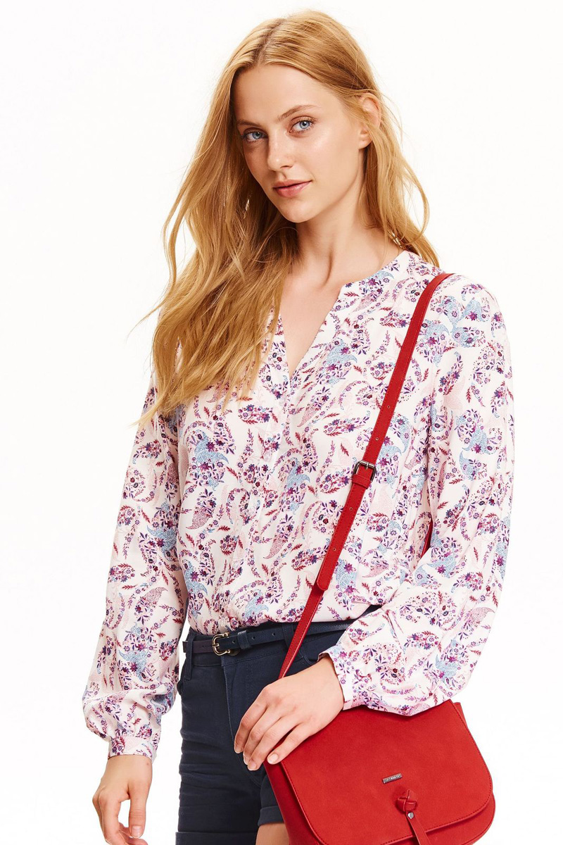 Рубашка женская Top Secret, цвет: белый, лиловый. SKL2362BI. Размер 40 (48)SKL2362BIЖенская рубашка Top Secret выполнена из натуральной вискозы. Модель с длинными рукавами и V-образным вырезом горловины застегивается на пуговицы.