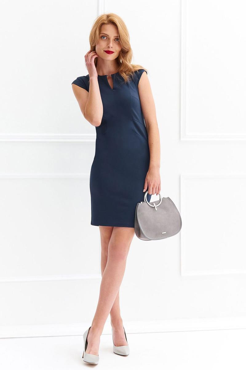 Платье Top Secret, цвет: темно-синий. SSU1972GR. Размер 42 (50)SSU1972GRСтильное платье Top Secret выполнено из высококачественного материала с добавлением вискозы. Модель мини длины с короткими рукавами и декоративным вырезом на груди на спине застегивается на потайную молнию.