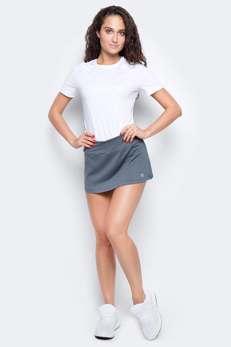 Юбка для тенниса Wilson Core 12.5 Skirt, цвет: светло-серый. WRA750603. Размер L (48)WRA750603Элегантная спортивная юбка Wilson из коллекции Core. Классический силуэт, вшитые компрессионные шортики и технология отвода влаги nanoWIK для оптимального комфорта.