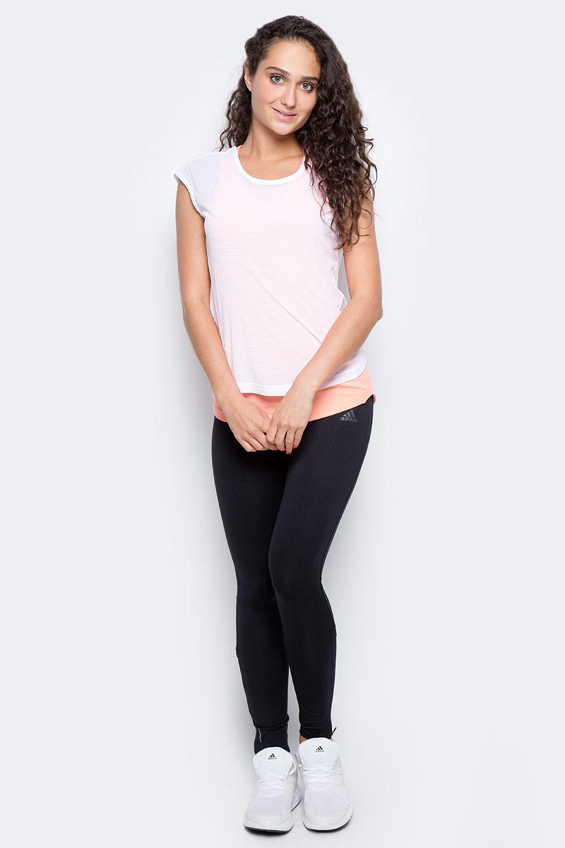 Футболка 2 в 1 для бега женская Adidas Tko 2 Layer W, цвет: белый, розовый. CF0937. Размер S (42/44)CF0937Удобная женская футболка Adidas, выполненная из полиэстера, состоит из майки - борцовки, футболки с короткими рукавами и круглым вырезом горловины. Ткань с технологией climalite® отводит излишки влаги от тела, сохраняя комфортное ощущение сухости. Модель дополнена светоотражающими элементами.