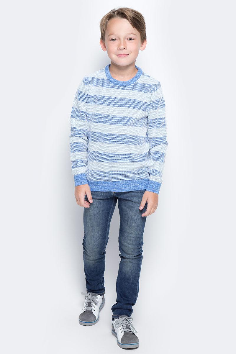Джемпер для мальчика Sela, цвет: небесно-голубой. JR-814/279-7112. Размер 140, 10 летJR-814/279-7112Стильный джемпер для мальчика Sela выполнен из натурального хлопка мелкой вязки в широкую полоску. Модель прямого кроя с длинными рукавами подойдет для прогулок и дружеских встреч и будет отлично сочетаться с джинсами и брюками. Мягкая ткань комфортна и приятна на ощупь. Воротник, манжеты рукавов и низ изделия связаны резинкой.