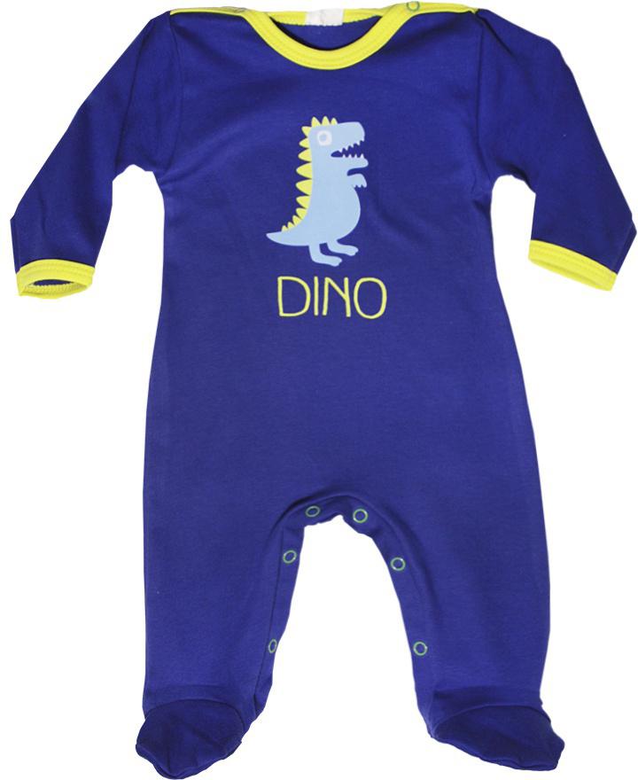 Комбинезон домашний детский КотМарКот Маленький Динозаврик, цвет: темно-синий, желтый. 6136. Размер 866136Удобный домашний комбинезон с закрытыми ножками КотМарКот, изготовленный из интерлока, оформлен принтом с изображением динозаврика. Материал изделия мягкий и тактильно приятный, не раздражает нежную кожу ребенка и хорошо пропускает воздух. Модель с длинными рукавами и круглым вырезом горловины застегивается на ластовице и плечах на кнопки, что облегчает переодевание ребенка и смену подгузника. Изделие полностью соответствует особенностям жизни ребенка в ранний период, не стесняя и не ограничивая его в движениях.