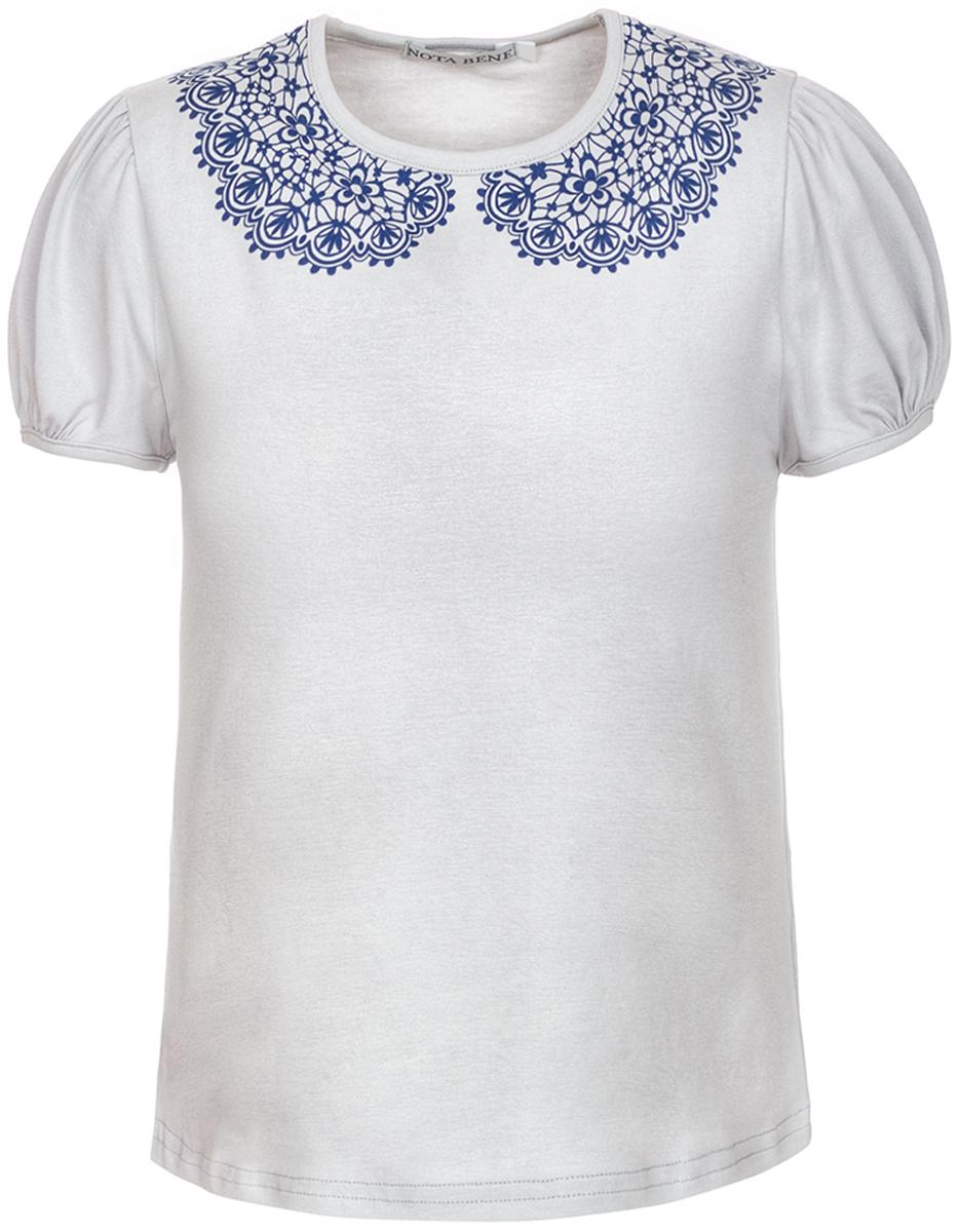 Блузка для девочки Nota Bene, цвет: серый. CJR27030B20. Размер 152CJR27030A20/CJR27030B20