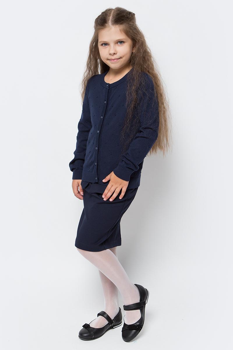 Кардиган для девочки Overmoon by Acoola Lolin, цвет: темно-синий. 21200130003_600. Размер 14021200130003_600Кардиган для девочки Overmoon Lolin выполнен из высококачественного материала. Модель с круглым вырезом горловины и длинными рукавами застегивается на пуговицы.
