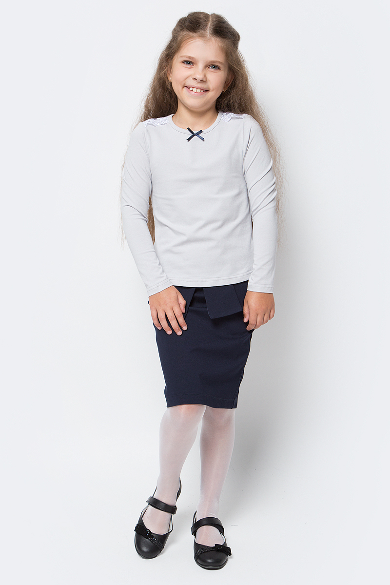 Блузка для девочки Nota Bene, цвет: серый. CJR27031B20. Размер 164CJR27031A20/CJR27031B20Блузка для девочки Nota Bene выполнена из хлопкового трикотажа с кружевной отделкой. Модель с длинными рукавами и круглым вырезом горловины.