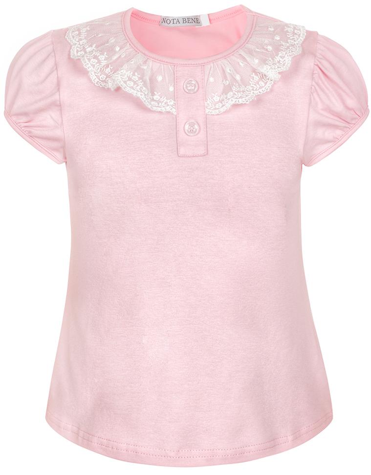 Блузка для девочки Nota Bene, цвет: розовый. CJR27032A05. Размер 122CJR27032A05Блузка для девочки Nota Bene выполнена из хлопкового трикотажа с кружевной отделкой. Модель с короткими рукавами и круглым вырезом горловины.