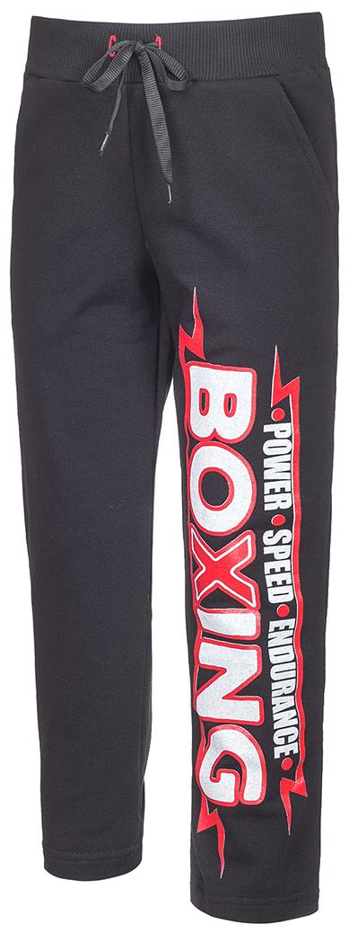 Брюки спортивные для мальчика M&D, цвет: черный. Б190821. Размер 116Б190821Спортивные брюки для мальчика выполнены из трикотажного полотна. Модель с широкой резинкой на талии и со шнурком дополнена втачными карманами.