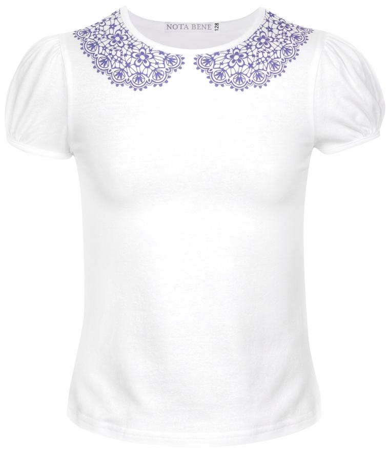 Блузка для девочки Nota Bene, цвет: белый. CJR27030A01. Размер 128CJR27030A01