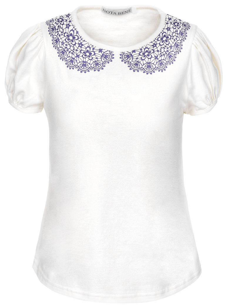 Блузка для девочки Nota Bene, цвет: молочный. CJR27030A17. Размер 122CJR27030A17
