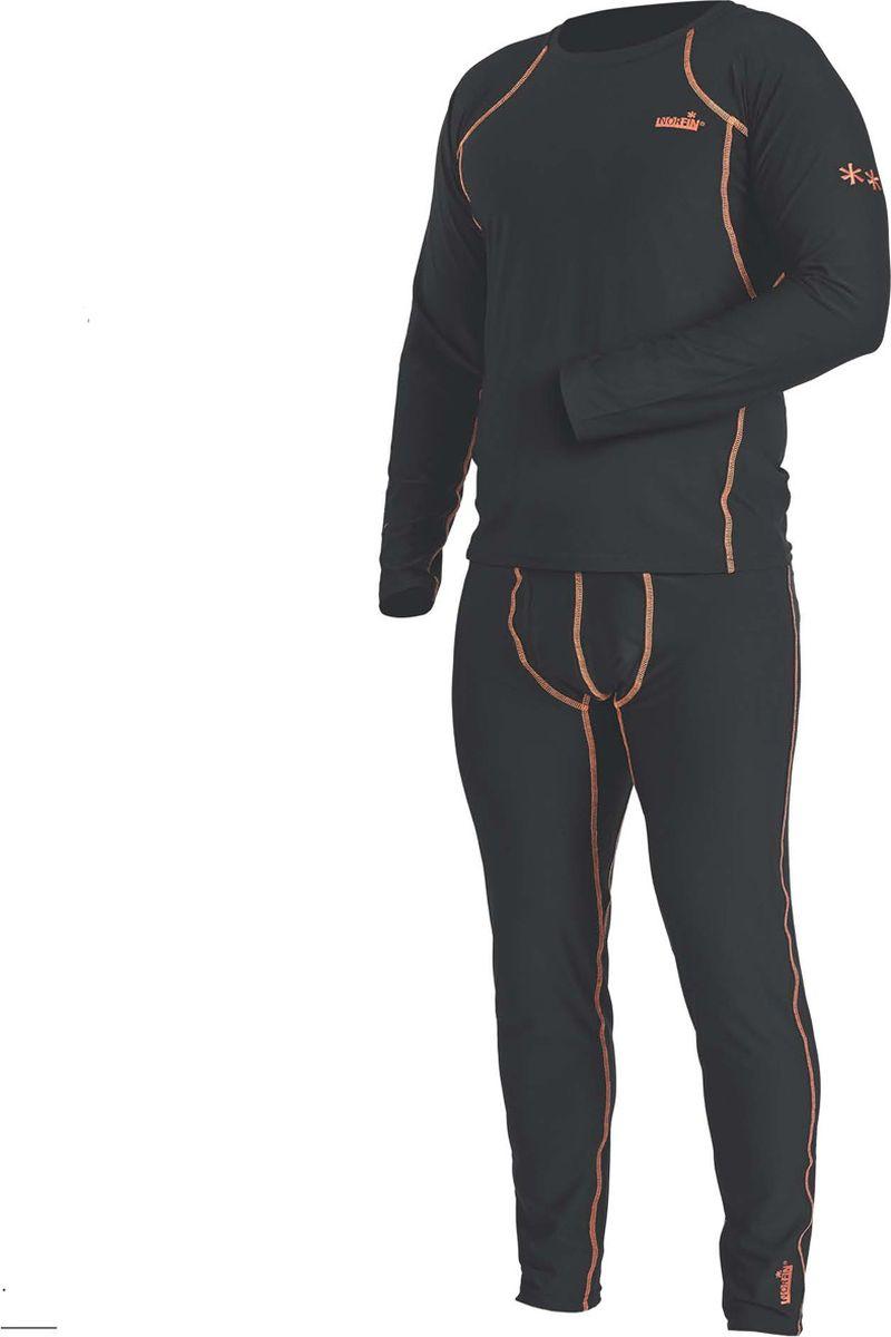 Комплект термобелья мужской Norfin Thermo Line 2, цвет: черный. Размер M (48/50)30083Термобелье базового слоя сшито так, что совершенно не стесняет движения тела, обеспечивая максимальную эластичность там, где это нужно. Может использоваться для повседневной носки в прохладную погоду, а также идеально защитит от холода на рыбалке, охоте, отдыхе на природе. - Эластичный пояс- Эластичные манжеты на рукавах и штанах