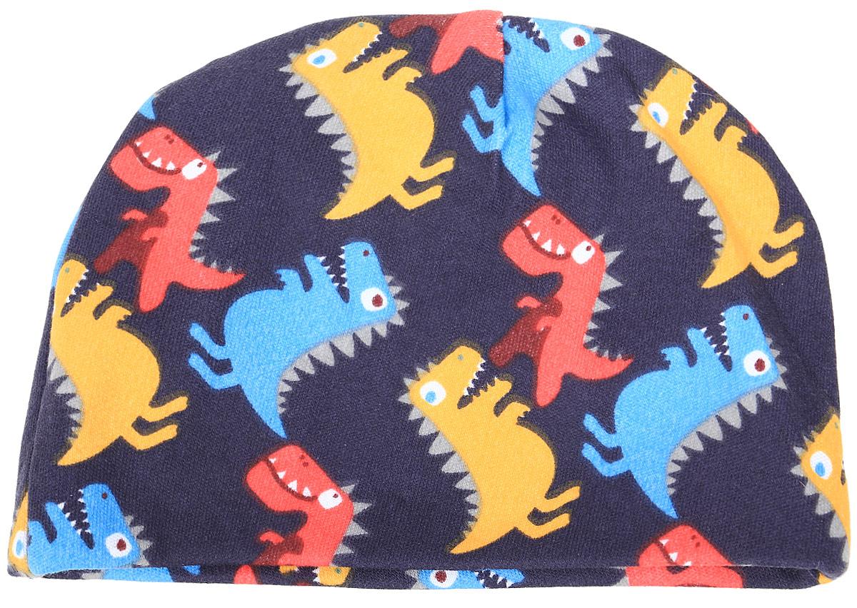 Чепчик КотМарКот Маленький Динозаврик, цвет: темно-синий. 8534. Размер 488534