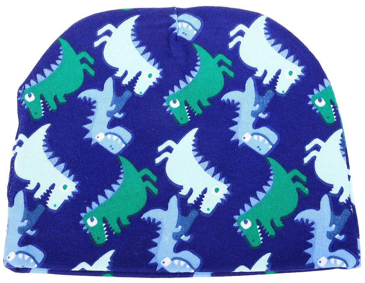 Чепчик КотМарКот Маленький Динозаврик, цвет: темно-синий. 8535. Размер 448535