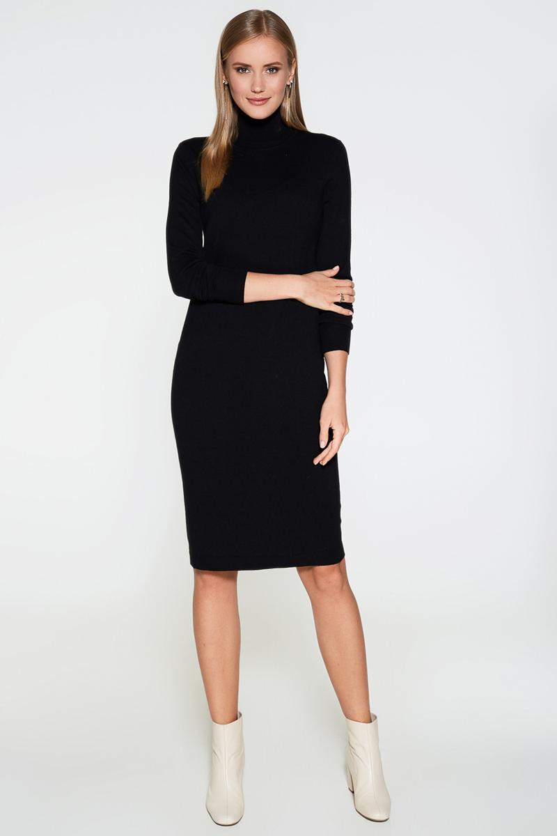 Платье Concept Club Vasson17, цвет: черный. 10200200352. Размер S (44)10200200352Базовое платье от Concept Club облегающего кроя выполнено из эластичного вязаного трикотажа. Модель с воротником-гольф и длинными рукавами с эластичными манжетами.
