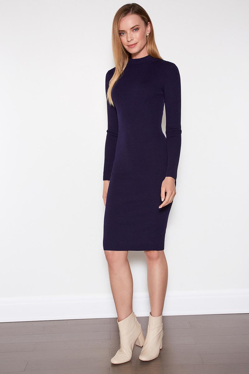 Платье Concept Club Vi, цвет: темно-синий. 10200200368. Размер XS (42)10200200368Облегающее платье от Concept Club выполнено из эластичного трикотажа в рубчик. Модель длины миди с воротником-стойкой и длинными рукавами.