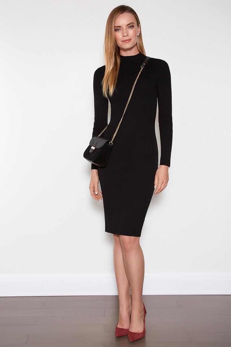 Платье Concept Club Vi, цвет: черный. 10200200368. Размер L (48)10200200368Облегающее платье от Concept Club выполнено из эластичного трикотажа в рубчик. Модель длины миди с воротником-стойкой и длинными рукавами.