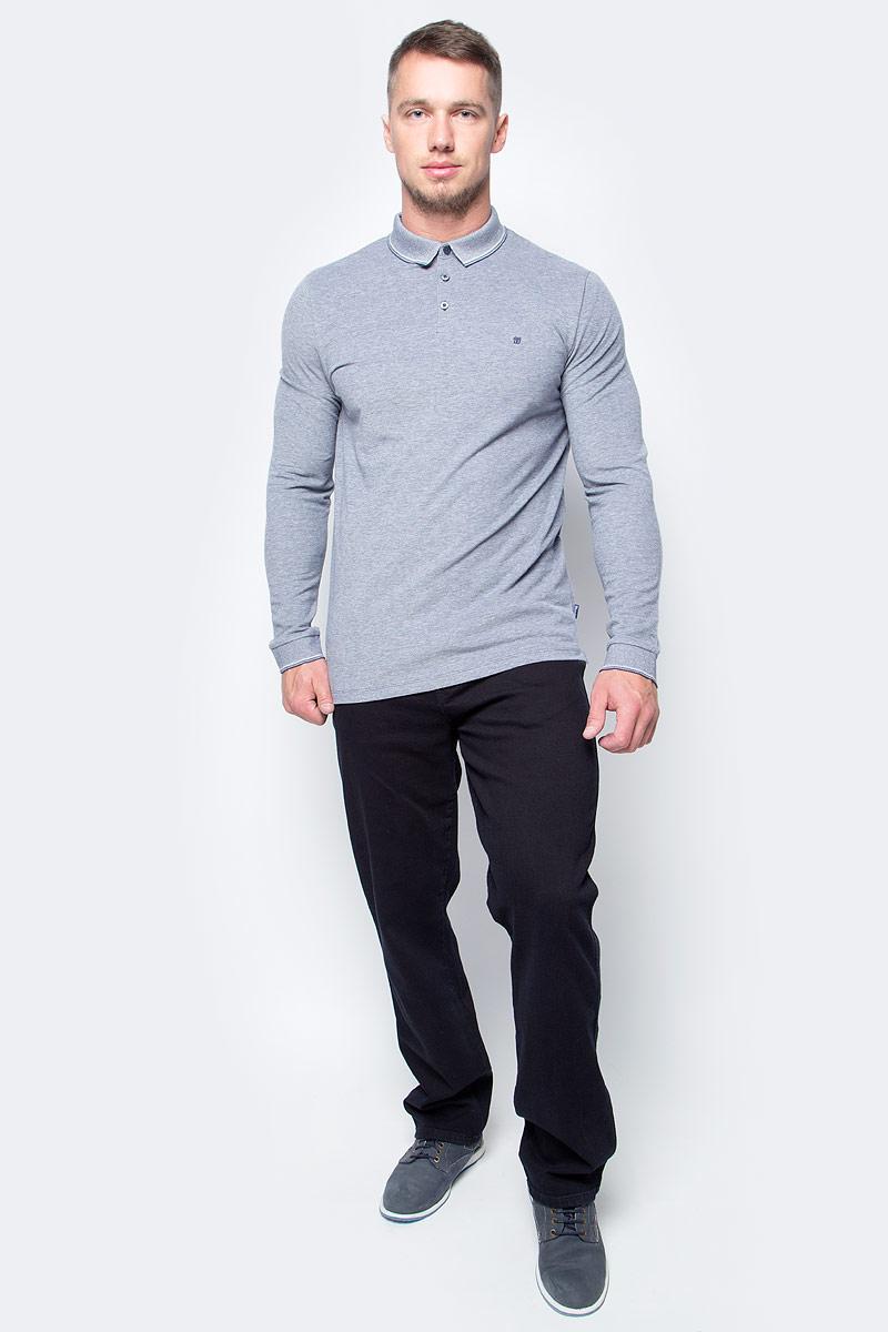 Поло мужское Wrangler, цвет: серый. W7A87K535. Размер S (46)W7A87K535Мужская футболка-поло от Wrangler выполнена из натурального хлопка. Модель с длинными рукавами и отложным воротником га груди застегивается на пуговицы.