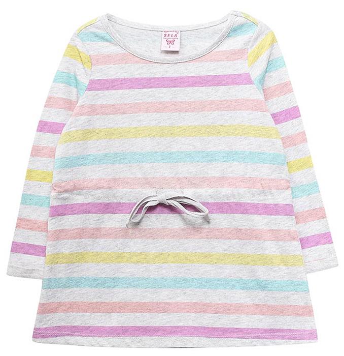 Платье для девочек Sela, цвет: светло-серый. DK-517/392-7351. Размер 104DK-517/392-7351