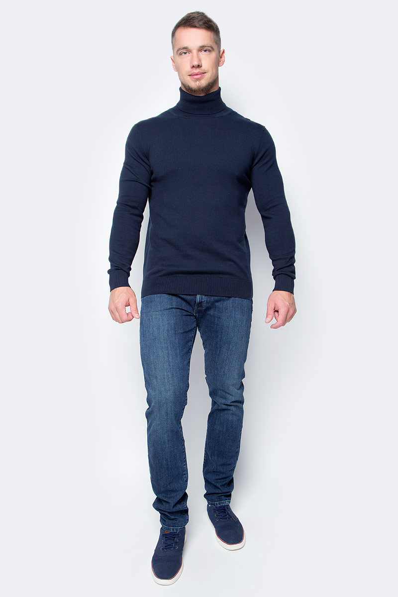 Водолазка мужская Baon, цвет: темно-синий. B727701_Deep Navy. Размер XXL (54)B727701_Deep NavyПозаботьтесь о своем тепле и комфорте - выберите качественную модель, призванную защитить вас от мороза и ветра. Водолазка от Baon, изготовленная из трикотажа с добавлением натуральной шерсти, создана специально для холодной погоды. Эта базовая модель превосходно сочетается как с классикой, так и с повседневной одеждой, позволяя вам выглядеть и чувствовать себя на все сто!