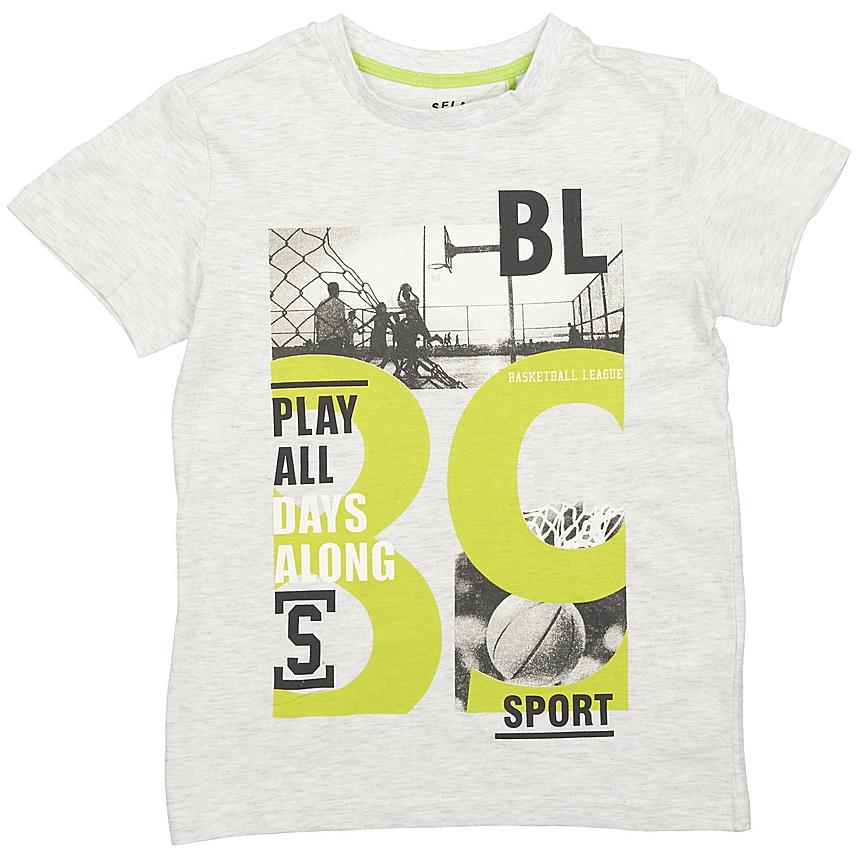 Футболка для мальчиков Sela, цвет: светло-серый. Ts-811/071-7330. Размер 140Ts-811/071-7330