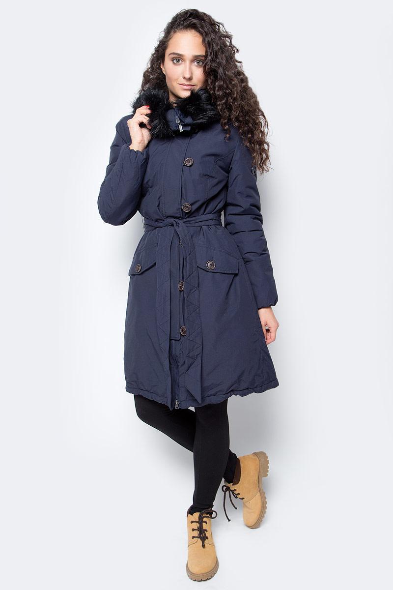 Куртка женская Baon, цвет: синий. B037519_Dark Navy. Размер S (44)B037519_Dark NavyЖенская куртка от Baon выполнена из плотного хлопкового текстиля на синтепоновом утеплителе. Модель приталенного кроя застегивается на молнию и дополнительно имеет планку на пуговицах, на талии дополнена поясом. Куртка дополнена боковыми карманами с клапанами на пуговицах. Капюшон с внутренней стороны оторочен мехом и дополнен молнией, расстегнув которую он становится воротником.