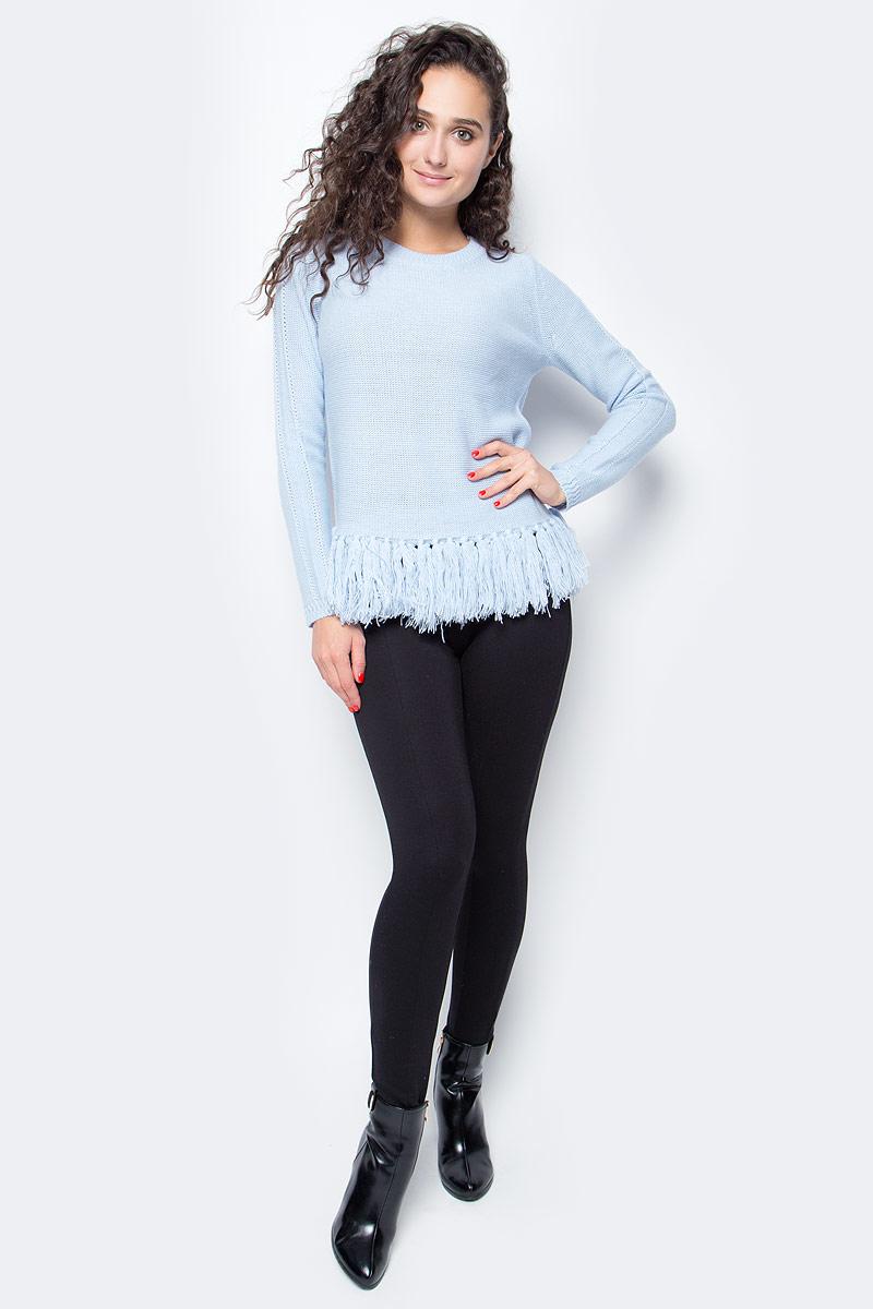 Джемпер женский Baon, цвет: голубой. B137520_Cloudy Blue. Размер S (44)B137520_Cloudy BlueОригинальный джемпер от Baon поможет вам внести разнообразие в свой повседневный гардероб. Изделие выполнено из пряжи с добавлением шерсти, натуральные волокна которой будут согревать вас своим теплом. Нижняя часть джемпера окантована бахромой из кистей.