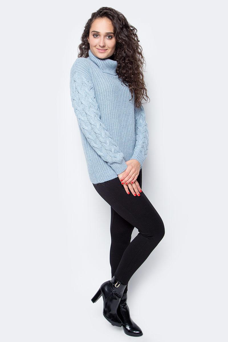 Свитер женский Baon, цвет: голубой. B167504_Cloudy Blue Melange. Размер XS (42)B167504_Cloudy Blue MelangeТеплый свитер от Baon - вещь, без которой не обойтись в холодное время года. Эта уютная модель согреет вас при помощи натуральной шерсти в своем составе. Изделие имеет прямой крой, прямые проймы и широкий воротник с отворотом. Рукава свитера украшены вязаным узором.