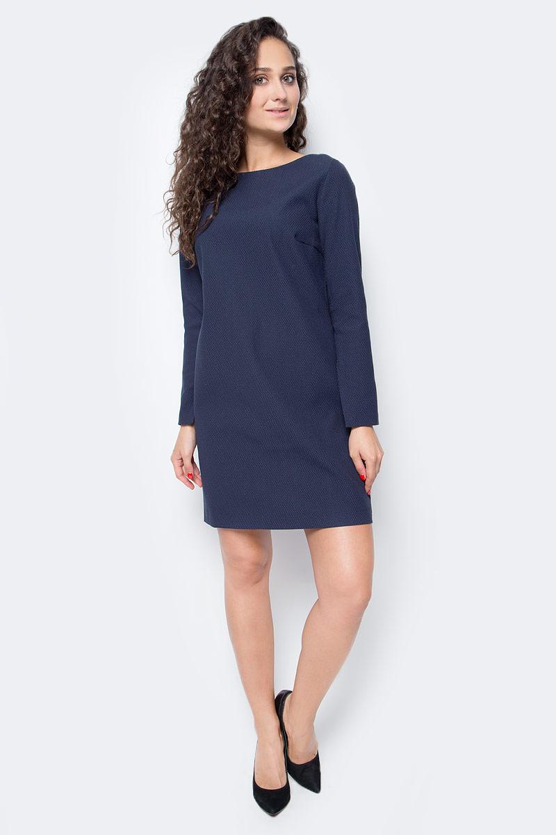 Платье Baon, цвет: синий. B457516_Dark Navy. Размер S (44)B457516_Dark NavyЭлегантное платье от Baon выполнено из материала с легким эффектом стрейч и рельефным рисунком поверхности. Изделие имеет А-силуэт и рукава, украшенные разрезами. На спине расположена застежка-молния. Лаконичный дизайн этого платья позволит вам создавать различные образы - от деловых до элегантных и романтических.