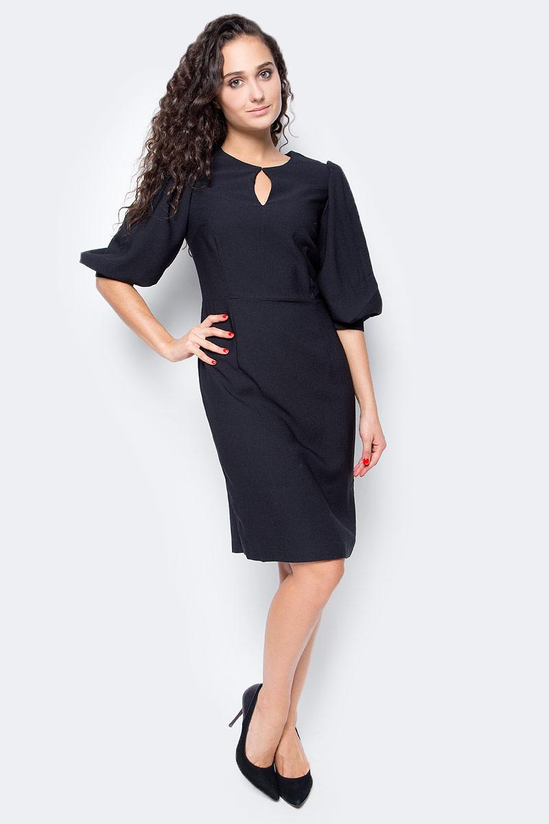 Платье Baon, цвет: черный. B457505_Black. Размер XL (50)B457505_BlackЭлегантное платье от Baon с модными деталями позволит вам подать себя в выгодном свете. Изделие имеет приталенный силуэт, эффектно подчеркивающий фигуру. Объемные рукава - актуальная деталь этого сезона. На груди расположен вырез-капля. Платье застегивается на молнию на спине.