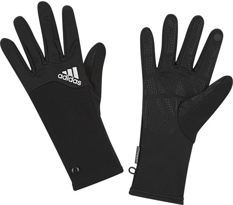 Перчатки для бега жен Adidas R Clmwm W Glove, цвет: черный. S94161. Размер L (22)S94161В этих женских перчатках твои руки будут в тепле во время пробежек в холодную погоду. Дышащая технология climawarm эффективно согревает. Силиконовый узор на ладонях обеспечивает оптимальное сцепление. Флисовые вставки на кончиках пальцев для использования мобильных устройств с сенсорными экранами без снимания перчаток.Дышащая технология climawarm сохраняет максимум естественного тепла тела даже при отрицательной температуреРифленые манжеты с декоративными пуговицамиМикрофлис; силиконовые вставки на ладонях и пальцахСпециальные вставки на подушечках пальцев для использования устройств с сенсорными экранамиСветоотражающие элементыФлис: 100% полиэстер
