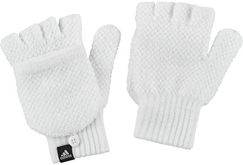 Перчатки жен Adidas W Clsc Gloves, цвет: белый. BR9980. Размер L (22)BR9980Перчатки жен.• Логотип, сочетающийся по цвету:• Полуперчатки с дополнительнымиснимающимися пальцами для использованиясенсорного экрана