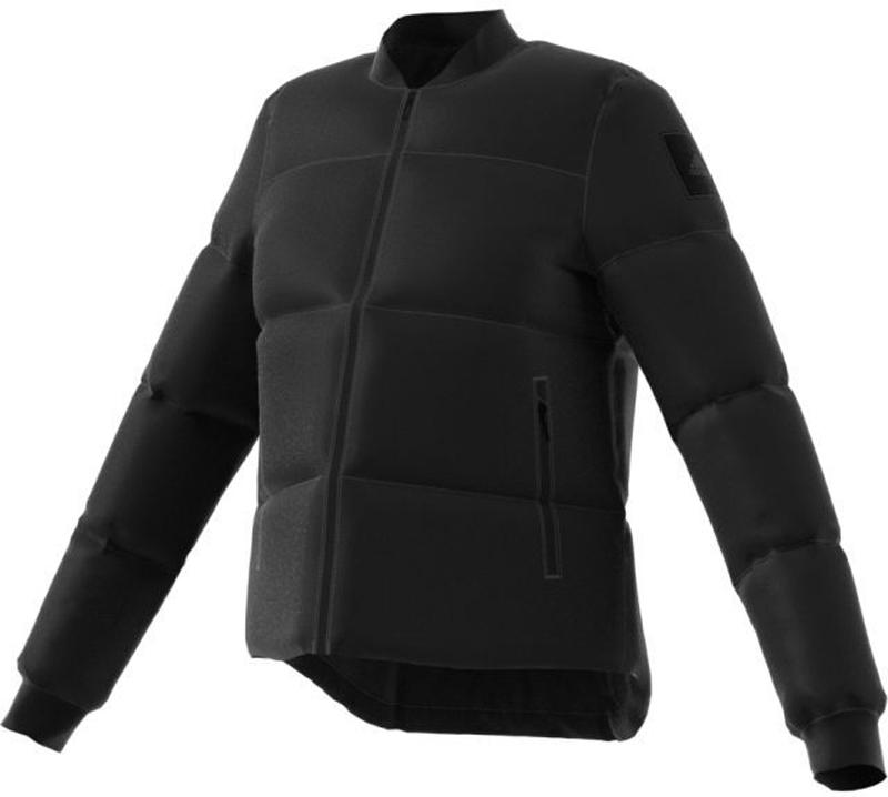 Пуховик жен Adidas W Nuvic Puffa, цвет: черный. BQ6810. Размер L (48/50)BQ6810Укороченный женский пуховик обеспечивает свободу движений во время занятий зимними видами спорта