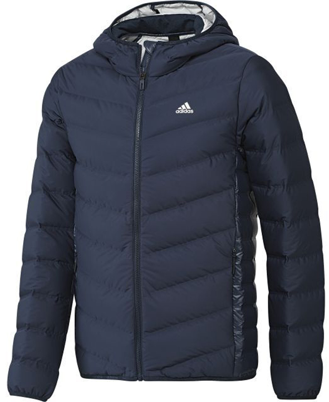 Пуховик муж Adidas Nuvic Jacket, цвет: темно-синий. BQ4170. Размер M (48/50)BQ4170Высококачественный мужской пуховик с капюшоном и фирменным логотипом