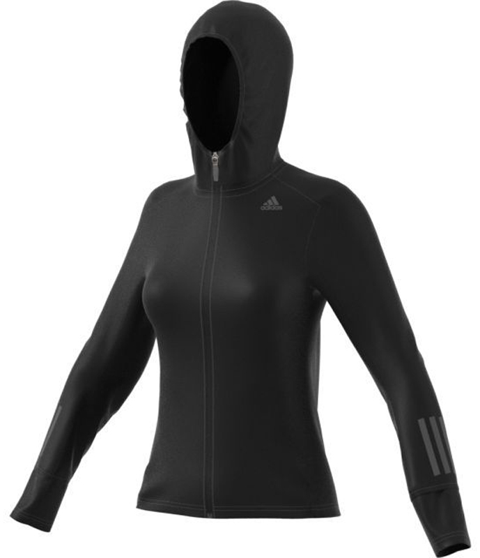 Худи для бега жен Adidas RS SFT SH JKT W, цвет: черный. BR0806. Размер XL (52/54)BR0806Женская куртка Adidas Performance Response Soft предназначена для бега в прохладную погоду.Изготовлена из эластичного качественного материала для прочности и удобства.Технология CLIMALITE выводит влагу с поверхности тела для оптимального микроклимата.Застежка на молнию; вшитый капюшон защитит от непогоды.Мягкие вставки на манжетах для дополнительного комфорта.Классический фасон не сковывает движений.Отражающие свет элементы для заметности в вечернее время суток.Состав: 68% полиэстер / 20% переработанный полиэстер / 12% эластан
