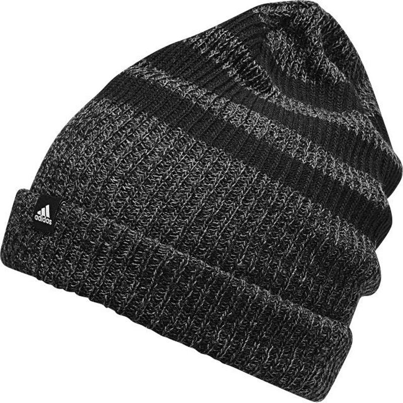 Шапка Adidas 3S Woolie, цвет: черный, серый . BR9921. Размер 54/55BR9921Шапка утепленная взр.• Свободная вязка:• 2-цветный меланжевый эффект:• 3 полосы:• Логотип, сочетающийся по цвету:• Может трансформироваться в шапку
