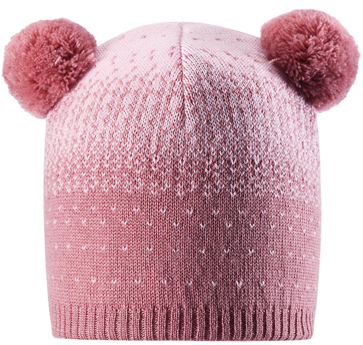 Шапка-бини для девочек Reima Saana, цвет: розовый. 5285514320. Размер 565285514320
