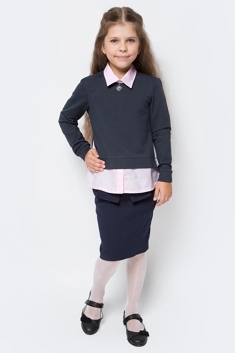 Джемпер для девочки Nota Bene, цвет: темно-серый, розовый. CJR27050B20. Размер 158CJR27050A20/CJR27050B20Джемпер-обманка для девочки Nota Bene выполнен из трикотажного полотна. Модель с отложным воротником и длинными рукавами застегивается сзади на пуговицу. На рукавах имеются манжеты. Изделие украшено декоративным элементом.